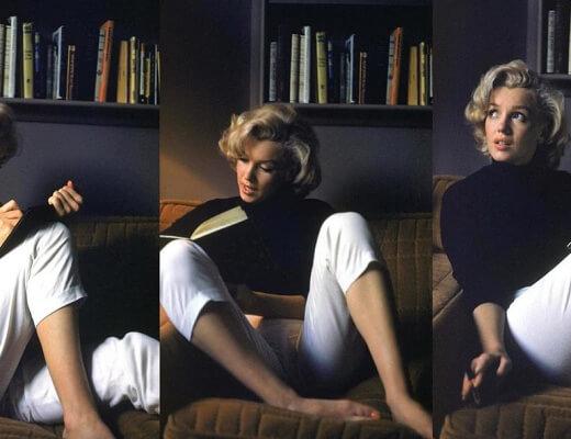 Montage de trois photos de Marilyn Monroe écrivant dans un carnet et cherchant l'inspiration