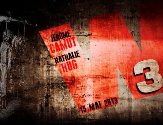 Illsutration représentant un mur béton sale avec un graffiti représentant un couple pendu et les noms de Jerôme Camut et Nathalie Hug dans un W rouge avec le chiffre 3