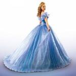 Photo extraite d'une des affiches du film Cendrillon sur laquelle l'héroine pose de trois quart en robe bleue
