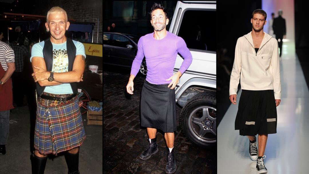 Composition de trois photos d'hommes portant la jupe de gauche à droite, JP Gaultier en kilt, Marc jacobs en jube noire et un mannequin homme portant une réalisation JP Gaultier lors d'un défilé