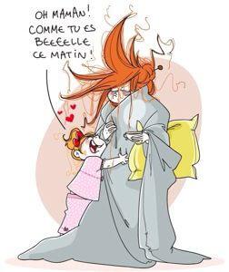 llustration de Nathalie Jomard représentant une fillette serrant sa mère à peine éveillée dans ses bras en lui disant qu'elle est belle ce matin