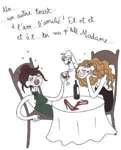 llustration de Pénelope Bagieu représentant deux femmes ivres attablées autour d'une bouteille de vin