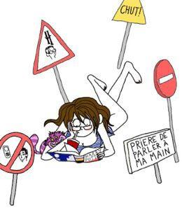 llustration de Pénelope Bagieu intitulée Harry où l'on voit une femme allo,gée sur le ventre en train de bouqiner et de siroter un soda entourée de panneaux silence interdit…