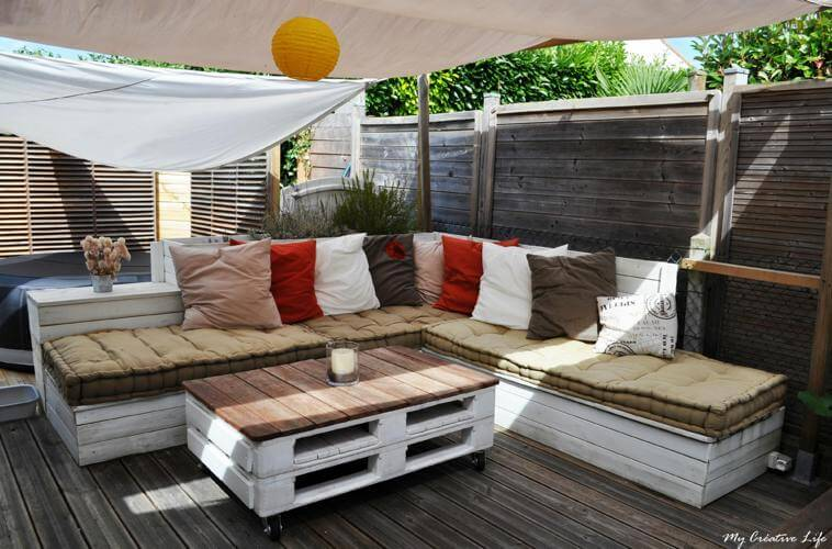 11 id es de mobilier de jardin en palettes for Salon en palette photos